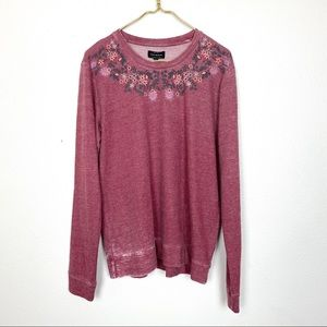 NWT Lucky Brand Embroidered Floral Crewneck